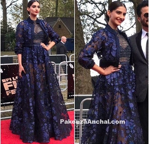 Sonam Kapoor in Midnight Blue Mesh Lace Outfit