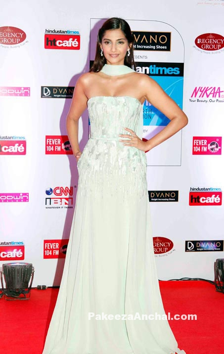 Sonam Kapoor in Mint Green Strapless Gown by Elie Saab at HT Mumbais Most Stylish 2015