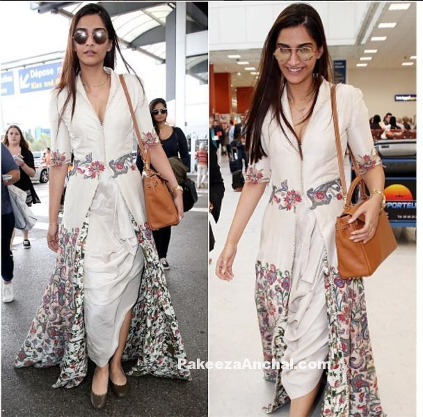 Sonam Kapoor in White Oufit Anamika Khanna @CannesFilmFestival-PakeezaAnchal.com