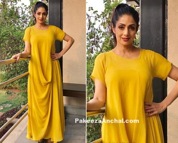 Sridevi in Yellow Maxi Outfit by Stepany-PakeezaAnchal.com