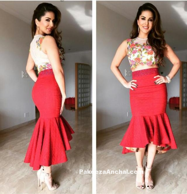 Sunny Leone floral Top and Red Peplum Skirt