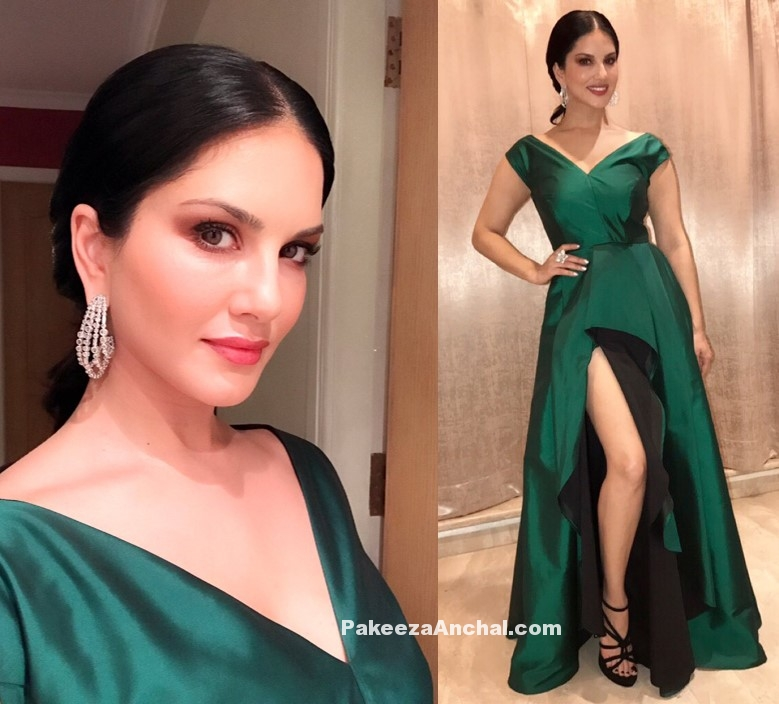 Sunny Leone in Green Gown by Bespoke Boutique couture
