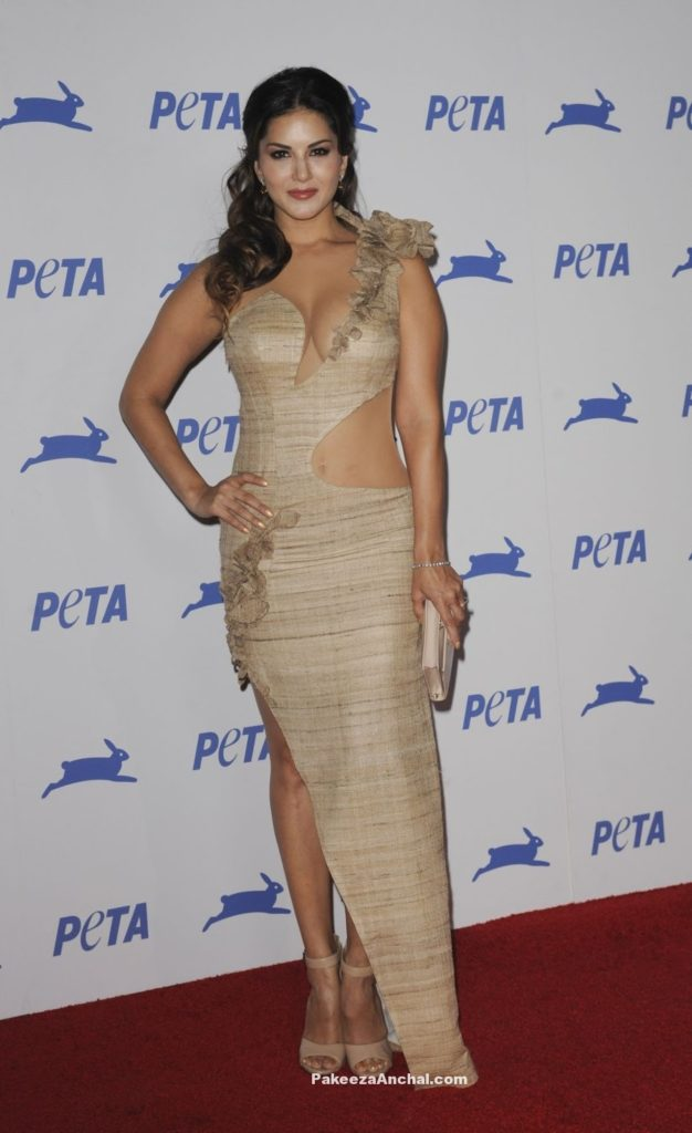 Sunny Leone in Wooden colored One Shoulder slit Gown for PETA's 35th Anniversary-PakeezaAnchal.com