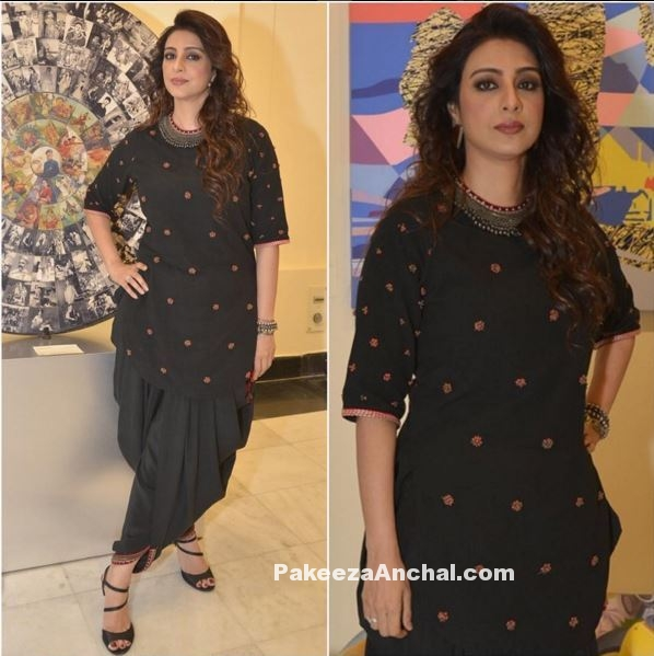 Tabu in Black Kurti with Dhoti Pants by Nikasha