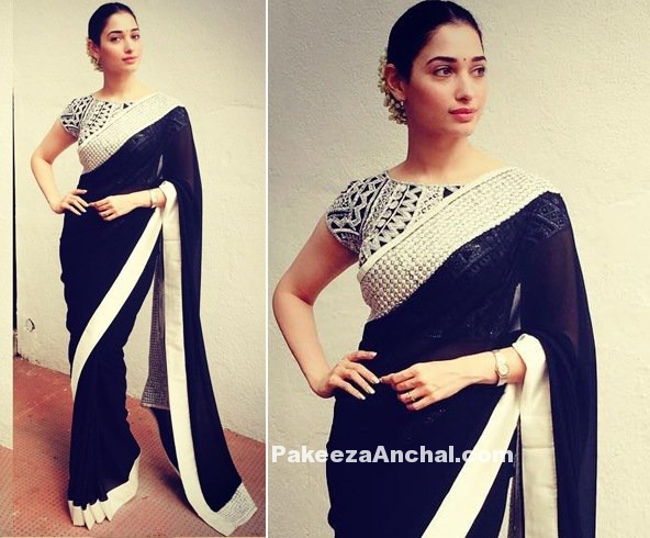 Tamanna Bhatia in Abu Jani Sandeep Khosla Black Saree