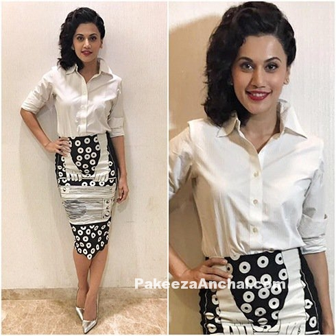 Tapsee Pannu in Unique print Skirt Style white Shirt-PakeezaAnchal.com