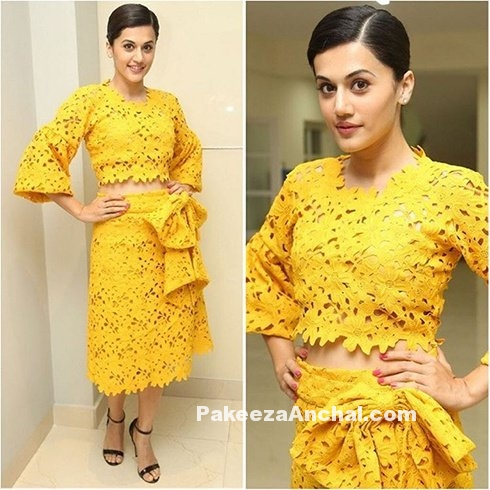 Tapsee Pannu in Yellow Bambah Boutique outfit-PakeezaAnchal.com