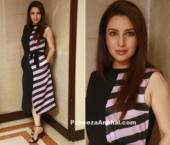 Tisca Chopra in Black Striped sleeveless Midi dress