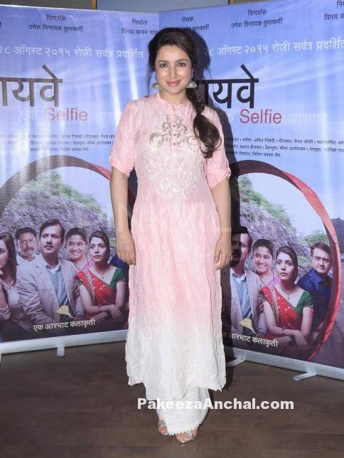 Tisca Chopra in Pink embroidered Salwar kameez with Palazzo Pants-PakeezaAnchal.com