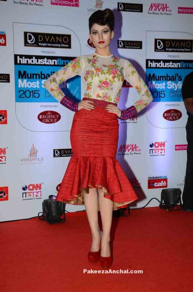 Urvashi Rautela in Neha Agarwal's Red Peplum Skirt and Floral Sheer Top-PakeezaAnchal.com