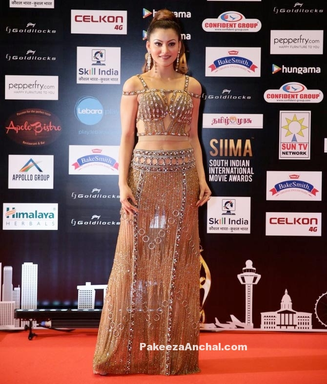 Urvashi Rautela in a Gold Gown at SIIMA Awards-PakeezaAnchal.com