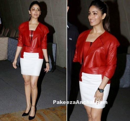 Yami Gautam in Red leather Jacket & Pencil Skirt-PakeezaAnchal.com