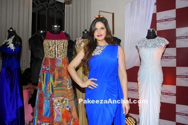 Zarine Khan in Blue Saree Gown at Zulekha Shariff Collection launch in Mumbai PakeezaAnchal.com