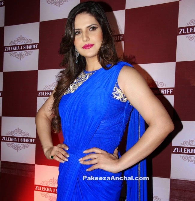Zarine Khan in Blue Saree Gown at Zulekha Shariff Collection launch in Mumbai-PakeezaAnchal.com